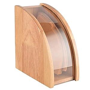 [ルボナリエ] コーヒーフィルター ホルダー コーヒー フィルター ケース ペーパーフィルター収納 透明窓 蓋付き (木製, 100枚)