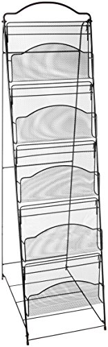 Safco Products Onyx Floor Literature Organizer Rack, 5 Pocket, 6461BL, Black Powder Coat Finish, Durable Steel Mesh Construction, Space-saving Functionality