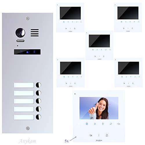 Video Türsprechanlage, Videosprechanlage, für 5-Familienhaus, mit Farbe und Bester 2-Draht-Technologie.
