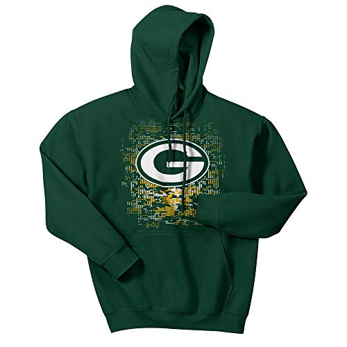 NFL Green Bay Packers Men's Digital Logo Hoodie, Forest Green, X-Large