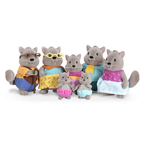 Li'l Woodzeez 6493Z Große Bustleberry Eichhörnchen Familie mit Großeltern, 7-teiliges Set mit Miniaturfiguren, Tierspielzeug und Zubehör für Kinder ab 3 Jahren