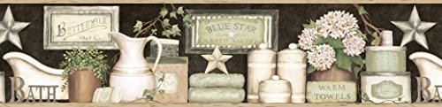 Chesapeake CTR63102B Martha - Cenefa para papel pintado de baño, color negro