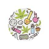 Green Weed Marihuana Kawaii Cartoon White Cannabis Classic Round Mouse Pad, Gaming Mouse Pad Alfombrilla antideslizante de goma natural para ordenador portátil PC oficina trabajo (20 x 20 cm)