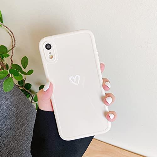 ZTOFERA Hülle für iPhone XR, Weiches Silikon Hülle mit Herz Design, Flexibel TPU Anti-Kratzer Bumper Schutzhülle für iPhone XR - Weiß