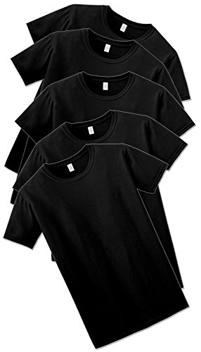 Gildan Mens Softstyle T-shirt 5-Pack, Black, XL