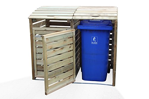 Mülltonnen-Box Mülltonnenverkleidung für 2 Tonnen inkl. Rückwand - 5