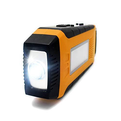 BigFox LEDラジオライト 懐中電灯 防災ラジオ iPhone/Androidスマホ充電可能 手回し充電/太陽光充電/USB充電 FM/AM対応 非常用ライト 防災グッズ 高輝度 地震/停電/台風対策 防水 (イエロー)