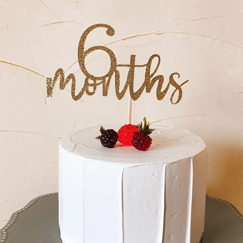 ケーキトッパー 6 months 6ヵ月 半年 ハーフバースデー お祝い用 筆記体 ゴールド スクラップブッキング ケーキ デコレーション クラフト 紙製 ペーパー