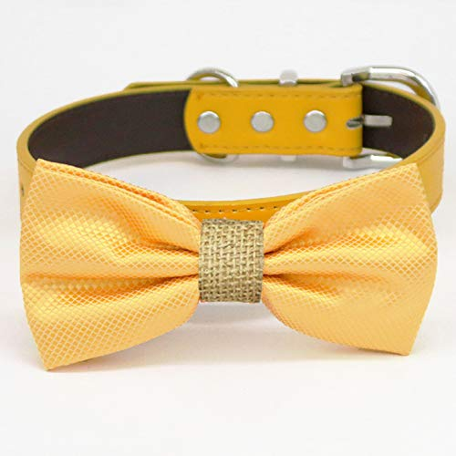 Yellow burlap bow tie collar dog XS bearer ring Spring new Attention brand work one after another of to honor