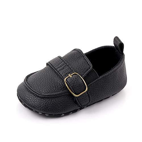 Ortego Schwarz Baby Schuhe Junge 6-12 Monate Babyschuhe Kleinkind Mokassin Anti-Rutsch Weiche Sohle Flach
