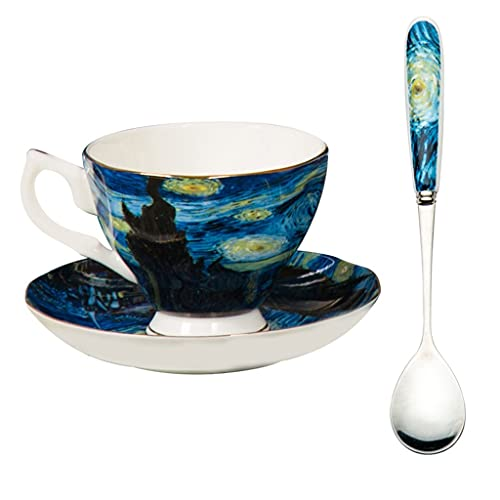 Latte Art Cup Bone China Tea Cup and Saucer Set,'The Starry Sky' Art Coffee Mugs Set 180ml Small Capacity Coffee Cup and Saucer Matching Spoon Dishwasher and Microwave Prohibited Coffeezone
