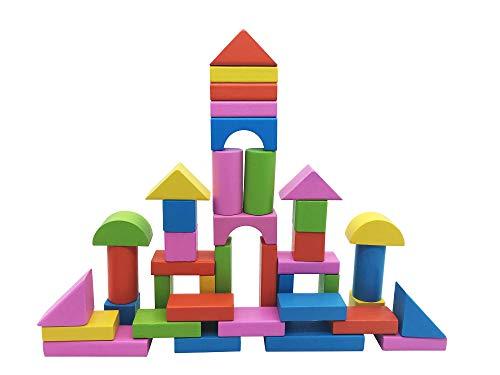 Afunti 50 Pezzi in Legno Costruzione Set Blocchi Giocattolo Educativi per Bambini