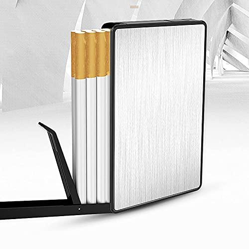 FYYYU Cigarrillos Caja de la Caja USB Recargables, Titular de eyección automática con Arco más Ligero, sin Llama, a Prueba de Viento, a Prueba de Humedad,Plata
