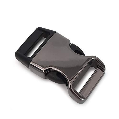 Ganzoo Lot de 8 fermoirs en plastique avec fermeture à clip et fermeture à clip pour bracelets paracorde, colliers pour chien, sac à dos, couleur titane / noir