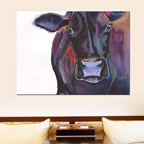 WSWWYNiedlichen Tier Kunst Leinwand Malerei Kuh Paare Bilder Druck auf Leinwand für Wohnzimmer Wandkunst Ungerahmt Drucke Eine 50x70 cm Kein Rahmen
