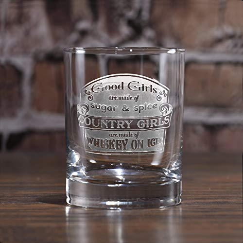 Country Girls are Made of Whiskey on Ice Engraved Glass Set of 2 (m61wsky2)