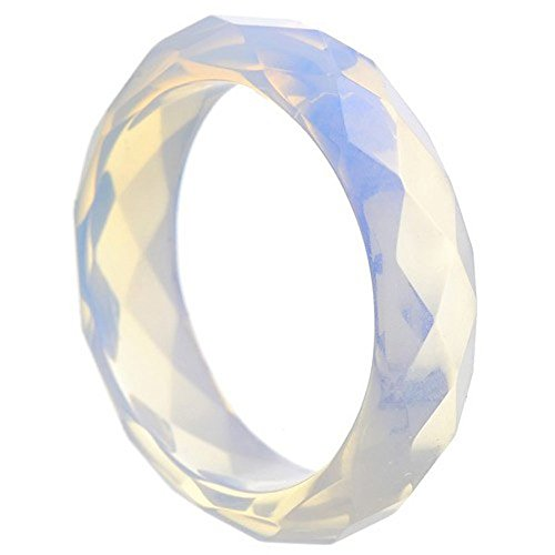 Faccetierter Ring aus Opalit (synth. Mondstein) Damenring Steinring Opalitring Mondsteinring schlicht, Ringgröße:Innenumfang 70mm ~ Ø22.3mm