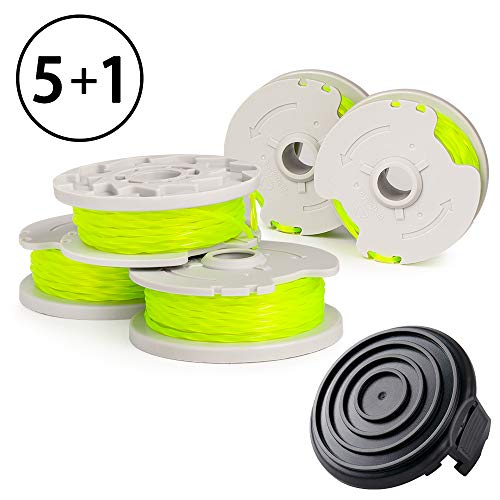 X Home Durable WA0014 Pre-Wound Weed Eater String and Cap,Compatible with Worx WG168, WG184,WG190 Trimmers, 5 Spools & 1 Cap