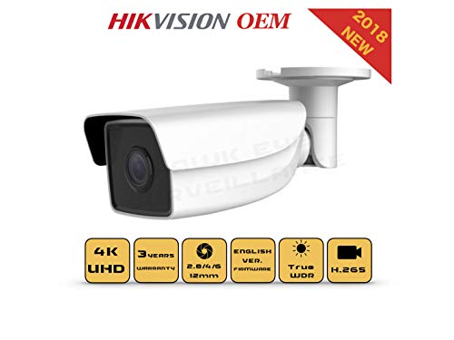 4K PoE Security IP Camera - Compatible as Hikvision DS-2CD2T85G1-I5 UltraHD 8MP EXIR Bullet Onvif Weatherproof 2.8/4mm Fixed Lens Best Home Business Security 3 Year Warranty (4mm)
