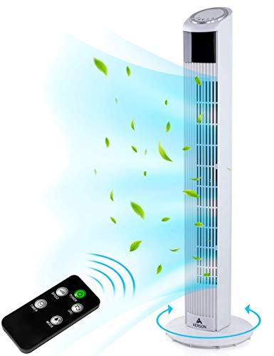 AERSON Turmventilator mit Fernbedienung 90 cm | Standventilator mit Oszillation | Ventilator 3 Geschwindigkeitsstufen | LED Display Raumtemperaturanzeige Timer | Tower Fan - 45 W (Weiß)