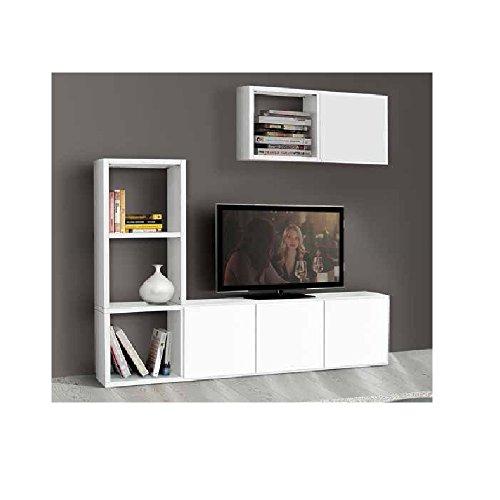 InHouse srls Ensemble Salon composé de bibliothèque Meuble TV Blanc Pore Ouvert, Style Moderne, en MDF laminé - Dim. 175 x 30 x 132