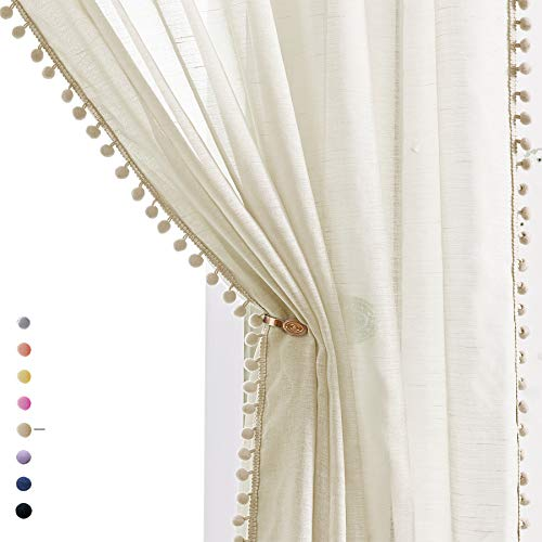 """Sheer Linen-Look Curtains 95"""" Bedroom Decorative Pompom Trimmed Voile for Living Room Slub Textured Natural Window Curtain Panels 2pcs"""