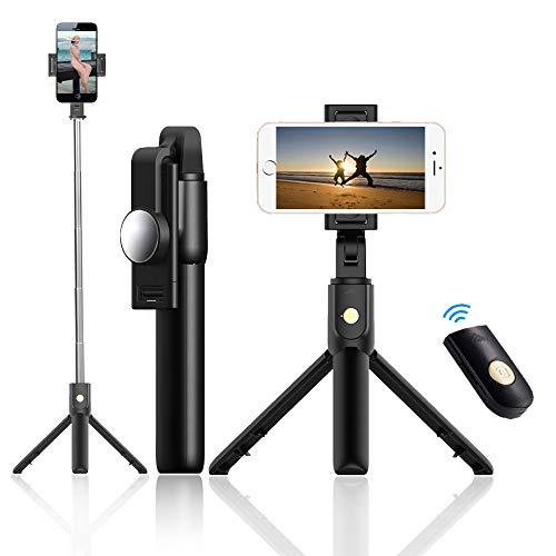 Tripod Bluetooth Mobile Phone Selfie Stick Integrated Triangle Live Shooting Bracket Multifunctional Vertical Shooting Photo Artifact (Black, Medium Size)