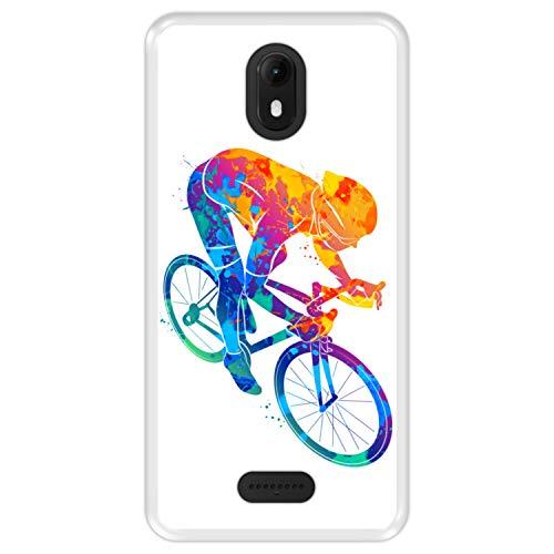 Hapdey silikon Hülle für [ Wiko View Go ] Design [ Abstrakter bunter Radfahrer ] Transparenz Flexibles TPU