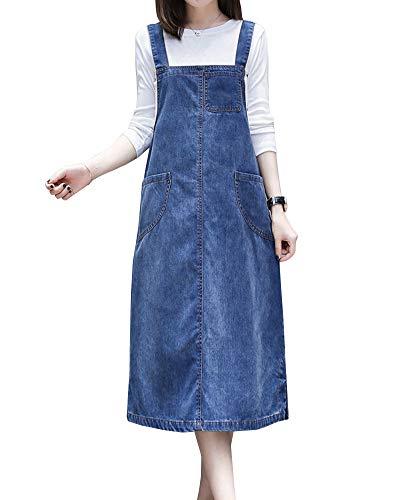 Chen Damen Langes Jeanskleid Lose Latzrock Jeansrock Trägerkleid Latzkleid Freizeitkleid Große Größe Blau XL
