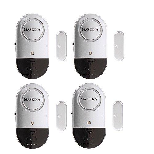 Alarma de ventana y puerta 120dB casa de seguridad ultra delgada puerta de ventana de alarma con fuerte - baterías incluidas - conjunto de 4