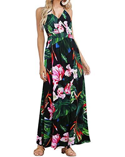 ACHIOOWA kvinnor sommarklänning boho maxi klänning lång klänning djup v-hals avslappnad prick polka sommarklänning spilld strandkläder täcka balklänningar