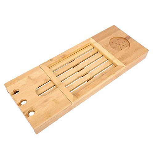 Bandeja de baño de bambú, Escritorio de bañera telescópico para teléfono, portátil, portátil, Velas de Vino, Mesa, Escritorio de bambú para Ordenador portátil