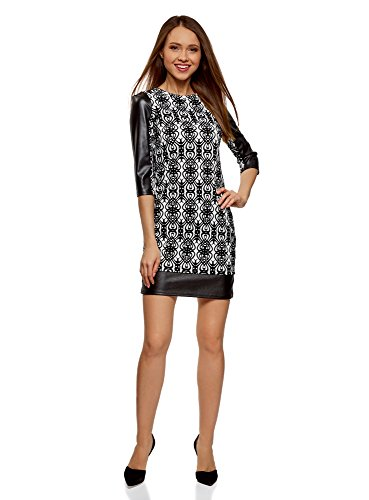 oodji Ultra Damen Kleid mit Flock-Druck und Lederimitat-Besatz, Weiß, DE 36 / EU 38 / S