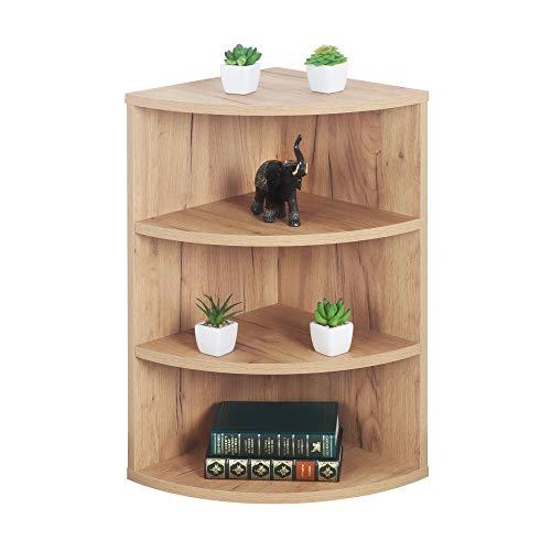 RICOO WM053-EG Estantería Esquina 60 x 33 x 33 cm Estante esquinera Librería Moderna Muebles de hogar Mueble almacenaje Madera Color Roble marrón