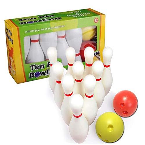 Hearthrousy Kinder Bowling Set Kegelspiel Spiel Bowlingkugel Kegel Drinnen Draußen Spielzeug für Kinder 3+ Jahre, 10 Stifte 2 Kugeln Mit Einer Aufbewahrungsbox