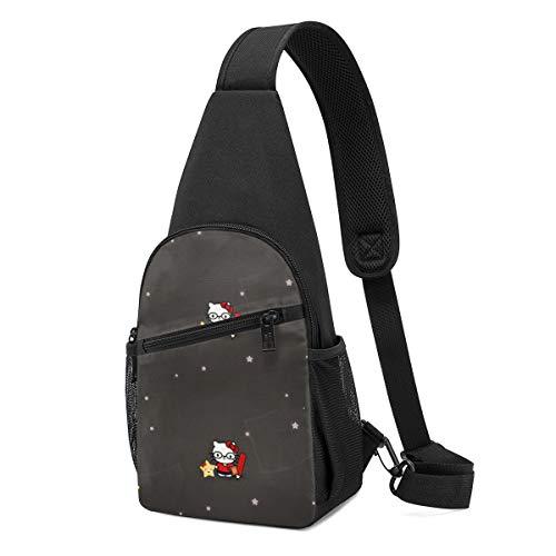LIUYAN Sling Bag - Hello Kitty Work Hard Crossbody Sling Backpack Travel Hiking Chest Bag Daypack for Women Men