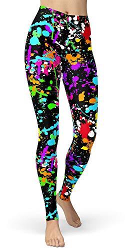 neon splatter paint leggings - 4