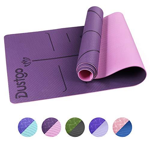 Dustgo Tappetino Yoga da 183cmx63cmx6mm Tappetino Palestra Fitness 100{0a6dd8d390e728a42ec78a5664d00887f9331e6be5a1a6a7f0f70957490472bb} Ecologico TPE Double-Sided Antiscivolo Yoga Mats