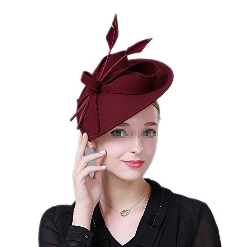 Eleganter Fascinator-Hut für Damen Damen Braut Retro Fascinators Hüte 20er Jahre 50er Jahre Hut Pillbox Hut Cocktail Tea Party Headwear mit Schleier für Mädchen und Frauen Schmuck ( Farbe : Rot )