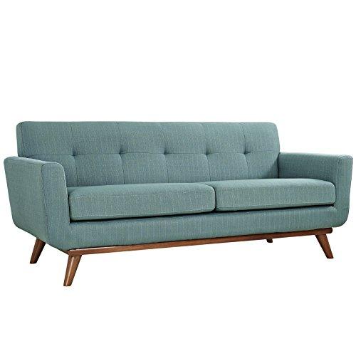 Modway Engage Mid-Century Modern Upholstered Fabric Loveseat in Laguna