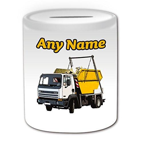 Gepersonaliseerd geschenk - Skip Truck Money Box (Transport Design Theme, wit) - Elke naam/bericht op uw unieke - Spaar Piggy Bank - Huur vrachtwagen Wagon HGV Voertuig Automobile Driver Dumpster afvalcontainer Rubbish