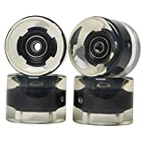 FREEDARE Skateboard Wheels with Bearings 60mm Longboard Wheels (Clear Black,Set of 4)