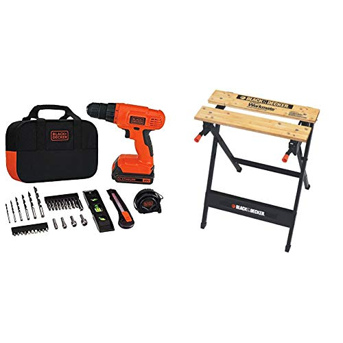 BLACK+DECKER 20V MAX Drill & Home Tool Kit, 34 Piece with Workmate Portable Workbench, 350-Pound Capacity (BDCD120VA & WM125)