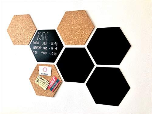 Scribble Hexagon Bulletin Board/Chalkboard, Pack of 7