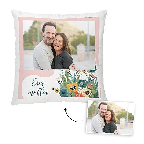 Fotoprix Cojín San Valentín Personalizado con Foto y Texto   Regalo Parejas y Novios   Diseños de Amor (Enamorados, 45 x 45 cms)