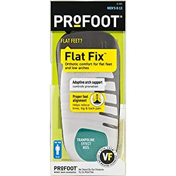 PROFOOT Flat Fix Orthotic Men s 8-13 1 Pair Orthotic Insoles for Flat Feet and Low Arches Inserts Help Support Arch and Heel Lightweight Absorbs Shock to Help Reduce Foot Leg Hip Back Pain