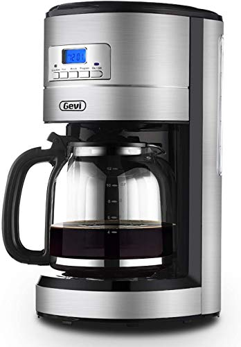 Coffee Maker GEVI 12 Cup Coffee Machine Programmable Setting Silent Operation Drip Coffeemaker with Coffee Pot and Filter for Home and Office (Stainless Steel)