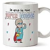Mugffins Nonna Tazza/Mug - Io Amo la Mia Super Nonna - Idea Regalo Festa della Mamma/Tazza Migliore Nonna in Ceramica. 350 ml