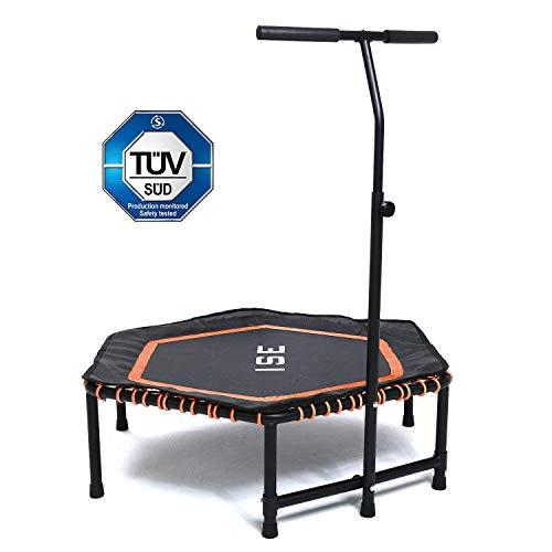 ISE Fitness Trampolin,Trampolin für Jumping Fitness Ø 122 cm höhenverstellbarer Haltegriff(113.5-134.5cm),leise Gummiseilfederung,Nutzergewicht bis 120kg,TÜV-Geprüft(Orange)