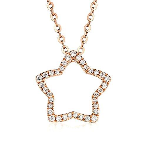 SonMo Echt 18K Rosegold Halskette für Damen Hohl Stern mit 0,47ct Diamant Kette mit Anhänger Echte Gold Halskette Frauen 750 Gold Schmuck Geschenk für Frauen Mädchen
